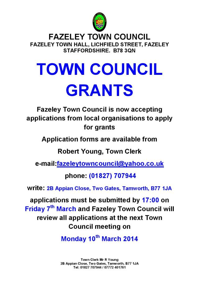 grant application notice - March 2014